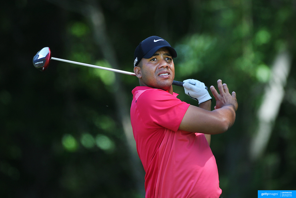 Jhonattan Vegas, Venezuela, in action during the third round of the Travelers Championship at the TPC River Highlands, Cromwell, Connecticut, USA. 21st June 2014. Photo Tim Clayton