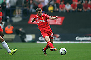 Liverpool's Joe Allen in action.Pre-season friendly match, Preston North End v Liverpool at Deepdale in Preston, England on Saturday 19th July 2014.<br /> pic by Chris Stading, Andrew Orchard sports photography.