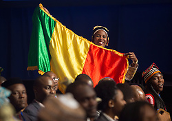 An attendee shows a flag in anticipation of the arrival of U.S. President Barack Obama at a Young African Leaders Initiative (YALI) town hall in Washington, DC, USA, August 3, 2016. Photo by Chris Kleponis/Pool/ABACAPRESS.COM