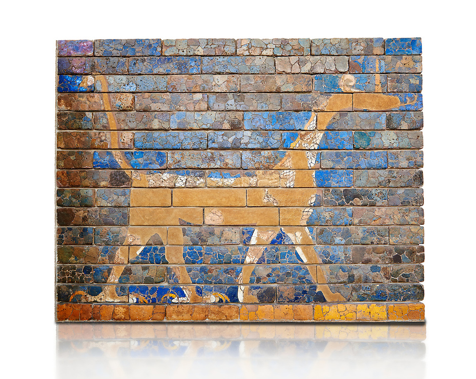 Coloured glazed brick panels depicting the mythical composite animal has the head and the body of a snake, the front legs of a lion, the hind legs of a bird and a scorpion sting in the tail the symbol of the city God Marduk. From the facade of the  first smaller Ishtar Gate, Babylon, dating from 604-562 BC. Babylon (present day Iraq). The Ishtar Gate, Babylon, was situated in the northern wall of the city and was named after the goddess Ishtar. The ground plan and debris of the gate buildings were uncovered during the German excavation from 1899-1917 directed by Robert Koldewey. The Vorderasiatisches Museum, part of the Pergamon Museum, Berlin .<br /> <br /> If you prefer to buy from our ALAMY PHOTO LIBRARY  Collection visit : https://www.alamy.com/portfolio/paul-williams-funkystock/babylon-antiquities.html<br /> <br /> Visit our ANCIENT WORLD PHOTO COLLECTIONS for more photos to download or buy as wall art prints https://funkystock.photoshelter.com/gallery-collection/Ancient-World-Art-Antiquities-Historic-Sites-Pictures-Images-of/C00006u26yqSkDOM