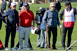 """Feb 6, 2019 Pebble Beach, Ca. USA TV, Film and singing stars that included Winners, CLINT EASTWOOD, SIR NICK FALDO, COLT FORD, and CLAY WALKER whom played in the """"3M Celebrity Challenge"""" to try for part of the 100K purse to go to their favorite charity and win the Estwood-Murray cup, for which team Clint Eastwwod's group won.. The event took place during practice day of the PGA AT&T National Pro-Am golf on the Pebble Beach Golf Links. Photo by Dane Andrew c. 2019 contact: 408 744-9017  TenPressMedia@gmail.com"""