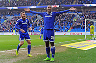 Cardiff City's Kenneth Zohore (26) celebrates  after he scores his teams 5th  goal with team mate Aron Gunnarsson (l). EFL Skybet championship match, Cardiff city v Rotherham Utd at the Cardiff city stadium in Cardiff, South Wales on Saturday 18th February 2017.<br /> pic by Carl Robertson, Andrew Orchard sports photography.