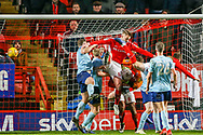 Accrington Stanley goalkeeper Jonathan Maxted (1) during a goal mouth scramble receives a red card during the EFL Sky Bet League 1 match between Charlton Athletic and Accrington Stanley at The Valley, London, England on 19 January 2019.