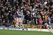 Coca Cola championship, Wolverhampton Wanderers v Cardiff City on Sunday 22nd Feb 2009 . pic by Andrew Orchard, Andrew Orchard sports photography,  Cardiff's Roger Johnson celebrates his goal with Paul Parry (l)