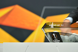 NYON, SWITZERLAND - Monday, December 14, 2020: The draw pot during the UEFA Champions League 2020/21 Round of 32 draw at the UEFA Headquarters, the House of European Football. (Photo Handout/UEFA)