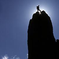 ROCK CLIMBING. Bela Vadasz atop Eichorn's Pinnacle on Cathedral Peak, Tuolumne Meadows,Yosemite Nat. Park, CA (MR)