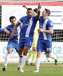 Peterborough United's Britt Assombalonga celebrates scoring - Photo mandatory by-line: Joe Dent/JMP - Mobile: 07966 386802 08/03/2014 - SPORT - FOOTBALL - Peterborough - London Road Stadium - Peterborough United v Crewe - Sky Bet League One