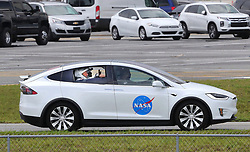 SpaceX Demo-2 astronauts Doug Hurley and Bob Behnken are driven to the launch complex at Kennedy Space Center, FL, USA, Wednesday, May 27, 2020. Afternoon thunderstorms are a concern for the scheduled launch time at 4:33 p.m. of the Space X Falcon 9 carrying the two astronauts in the Crew Dragon capsule. Photo by Joe Burbank/Orlando Sentinel/TNS/ABACAPRESS.COM