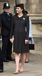 Catherine, Duchess of Cambridge attends the Easter Sunday Service at St George's Chapel in Windsor on April 01, 2018.