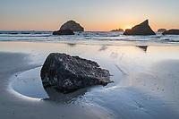 Sunset over Bandon Beach at low tide, Bandon, Oregon