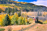 Cumbres & Toltec Scenic Railroad.  Westbound train traveling toward Chama, New Mexico.