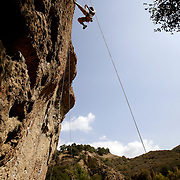 Outdoor enthusiasts, particularly climbers, enjoy the Santa Monica Mountains in Los Angeles County.