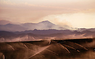 The massive wildfires of 2008 seen from Salinas valley, California, burning down the mountains of Los Padres.