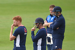 England's Jonny Bairstow (left) and head coach Trevor Bayliss during the nets session at Cardiff Wales Stadium.