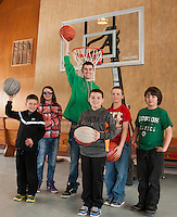 Dylan, Courtney, Chris, Mayson, Logan and Sam (in front) are ready to shoot some hoops thanks to a generous donation of two portable Basketball hoops to the Lakes Region Boys and Girls Club.  (Karen Bobotas/for the Laconia Daily Sun)