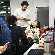 Nai Nai, a 23-year-old live-streamer in Shanghai, China, talks with her boss Borix Xu. Nai Nai's fans are mostly Chinese men between 15 and 30 years old who post messages and virtual gifts, visible to everyone logged on to her chatroom. China's livestreaming industry reached 425 million subscribers in 2018 out of a current total internet user base of more than 829 million, according to government statistics cited in Chinese state media. Livestream hosting is an increasingly popular career choice, especially for young Chinese women like Nai Nai.