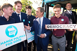 © Licensed to London News Pictures. 22/05/2019.<br /> Rochester,UK. Brexit Party leader Nigel Farage in Rochester, Kent on the eve of the European elections tomorrow. Nigel had to stay on the campaign bus over fears of remainers with iced coffee.Photo credit: Grant Falvey/LNP