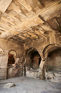 Picture & image of Queen Tamar's Hall interior, Uplistsikhe (Lords Fortress) troglodyte cave city, near Gori, Shida Kartli, Georgia. UNESCO World Heritage Tentative List<br /> <br /> Inhabited from the early Iron age to the late middle ages Uplistsikhe cave city eas, during the Roman & Hellenistic period, home to around 20,000 people. .<br /> <br /> Visit our MEDIEVAL PHOTO COLLECTIONS for more   photos  to download or buy as prints https://funkystock.photoshelter.com/gallery-collection/Medieval-Middle-Ages-Historic-Places-Arcaeological-Sites-Pictures-Images-of/C0000B5ZA54_WD0s<br /> <br /> Visit our REPUBLIC of GEORGIA HISTORIC PLACES PHOTO COLLECTIONS for more photos to browse, download or buy as wall art prints https://funkystock.photoshelter.com/gallery-collection/Pictures-Images-of-Georgia-Country-Historic-Landmark-Places-Museum-Antiquities/C0000c1oD9eVkh9c