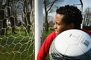 Norrent Fontes, France, 13 March 2015, Ab.NDA is a 16 yr old refugee from Eritrea. As a real sportsman he's playing football all the time, learning himself little tricks with the ball. Once in UK he hopes to become a professional soccerplayer.