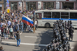 May 5, 2018 - Moscow, Moscow, Russia - Riot police surrounded of people during a demonstration against Putin in Moscow, Rusia. (Credit Image: © Celestino Arce via ZUMA Wire)