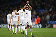 Ashley Williams, the Swansea City captain applauding the Swansea City away supporters after the final whistle. Barclays Premier League match, Crystal Palace v Swansea city at Selhurst Park in London on Monday 28th December 2015.<br /> pic by John Patrick Fletcher, Andrew Orchard sports photography.