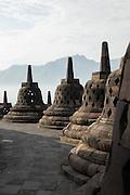 Stupas, Borobudur, Kedu Valley, Yogyakarta, South Central Java, Java, Indonesia, Southeast Asia