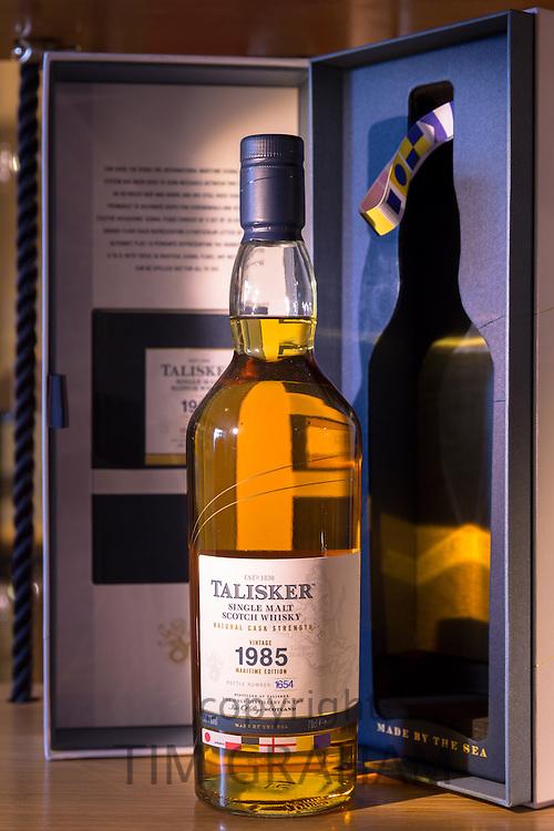 75cl bottle of 1985 vintage Talisker single malt Scotch Whisky and presentation case on display for sale at shop on visitors tour at Distillery in Carbost on Isle of Skye, Scotland