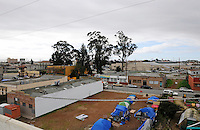 The current location of Tents by the Gardens, a homeless community, as seen from the roof of the Buddhist Temple of Salinas. In a meeting on Saturday at the Soledad Community Learning Center, concerned parties discussed where in the neighborhood Soledad Street's homeless population can go after the City of Salinas sweeps the area on Thursday, January 31st.