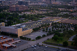 Evening aerial view of Texas Medical Center in Houston, Texas.