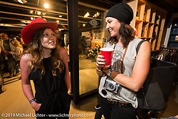 Brittney Olsen and Liz Horton at the after-Party at Revival Cycles on Sunday after the Handbuilt Motorcycle Show. Austin, TX. April 12, 2015.  Photography ©2015 Michael Lichter.