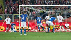 October 14, 2018 - Chorzow, Poland - Cristiano Biraghi (ITA) scores a winning goal during the UEFA Nations league match between Poland v Italy at the Slaski Stadium on October 14, 2018 in Chorzow, Poland. (Credit Image: © Foto Olimpik/NurPhoto via ZUMA Press)