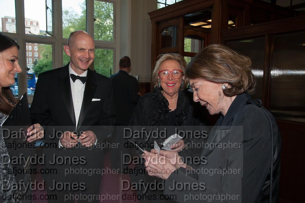 CHRIS ELY; LINDA WACHNER; MICA ERTEGUN, The London Library Annual  Life in Literature Award 2013 sponsored by Heywood Hill. The London Library Annual Literary dinner. London Library. St. james's Sq. London. 16 May 2013.