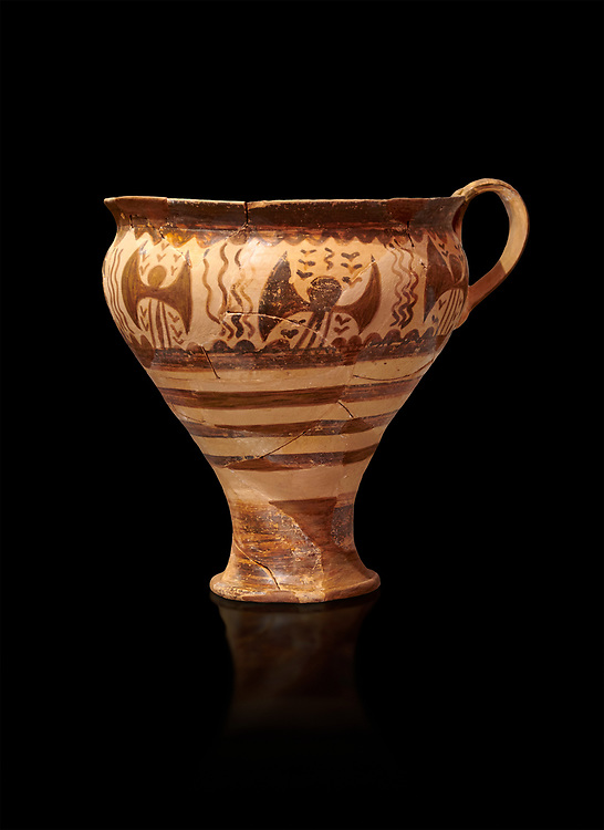 Minoan decorated cup for export, Kommos Harbour 1600-1450 BC; Heraklion Archaeological  Museum, black background. .<br /> <br /> If you prefer to buy from our ALAMY PHOTO LIBRARY  Collection visit : https://www.alamy.com/portfolio/paul-williams-funkystock/minoan-art-artefacts.html . Type -   Heraklion   - into the LOWER SEARCH WITHIN GALLERY box. Refine search by adding background colour, place, museum etc<br /> <br /> Visit our MINOAN ART PHOTO COLLECTIONS for more photos to download  as wall art prints https://funkystock.photoshelter.com/gallery-collection/Ancient-Minoans-Art-Artefacts-Antiquities-Historic-Places-Pictures-Images-of/C0000ricT2SU_M9w