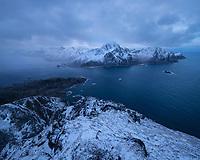 Winter view over Nappstraumen from summit of Offersøykammen, Lofoten Islands, Norway