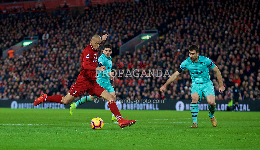 LIVERPOOL, ENGLAND - Saturday, December 29, 2018: Liverpool's Fabio Henrique Tavares 'Fabinho' during the FA Premier League match between Liverpool FC and Arsenal FC at Anfield. (Pic by David Rawcliffe/Propaganda)