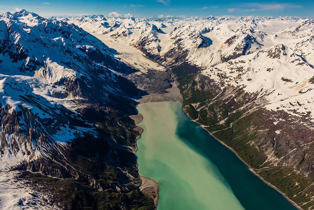 Aerial view of Rendu Glacier, Glacier Bay National Park, southeast Alaska USA. Glacier Bay is a UNESCO World Heritage Site.