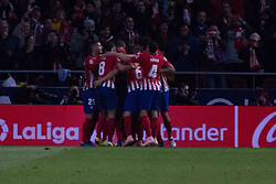 October 27, 2018 - Madrid, Madrid, Spain - Atletico de Madrid celebrates the first goal..during the match between Atletico de Madrid vs Real Sociedad. Atletico de Madrid won by 2 to 0 over Real Sociedad whit goals of Godin and Filipe Luis. (Credit Image: © Jorge Gonzalez/Pacific Press via ZUMA Wire)