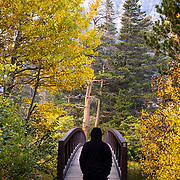 Fall colors frame a bridge over the Twin Lakes in Mammoth.