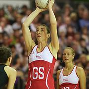 Rachel Dunn, England, in action during the New Zealand V England, New World International Netball Series, at the ILT Velodrome, Invercargill, New Zealand. 6th October 2011. Photo Tim Clayton...