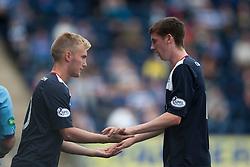 Falkirk's Craig Sibbald and Falkirk's Conor McGrandles.<br /> Falkirk 3 v 1 Morton, Scottish Championship 17/8/2013.<br /> ©Michael Schofield.
