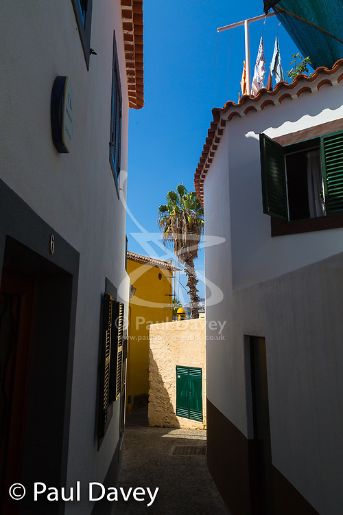 The Old Town in Funchal, Madeira has dozens of bars ad restaurants lining narrow shady streets. MADEIRA, September 26 2018. © Paul Davey