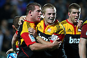 Chiefs' Toby Smith is congratulated by teammate Sam Cane for his try. Super Rugby rugby union match, Chiefs v Hurricanes at Waikato Stadium, Hamilton, New Zealand. Saturday 28th April 2012. Photo: Anthony Au-Yeung / photosport.co.nz