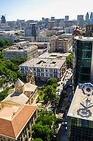Azerbaijan, Baku. Baku city view. St. Gregory the Illuminator's Church in the foreground.