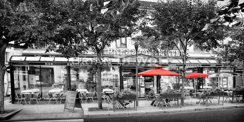 Friends talk over coffee at the outdoor cafe in Croissy-sur-Seine, France   Aspect Ratio 1w x 0.50h