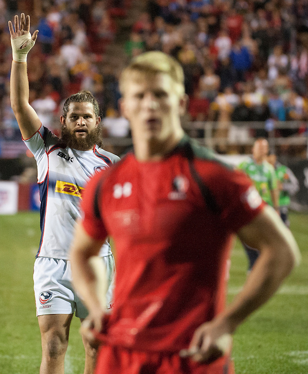 The United States beats Canada in the Cup quarter final of the USA Sevens leg of the 2015 HSBC Sevens World Series  at Sam Boyd Stadium in Las Vegas, Nevada. Friday February 13, 2015.<br /> <br /> COPYRIGHT © JACK MEGAW, 2015. <br /> <br /> www.jackmegaw.com