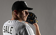 GLENDALE, ARIZONA - FEBRUARY 27:  Chris Sale #49 of the Chicago White Sox poses for a portrait during photo day on February 27, 2015 at Camelback Ranch in Glendale Arizona.  (Photo by Ron Vesely)    Subject:  Chris Sale