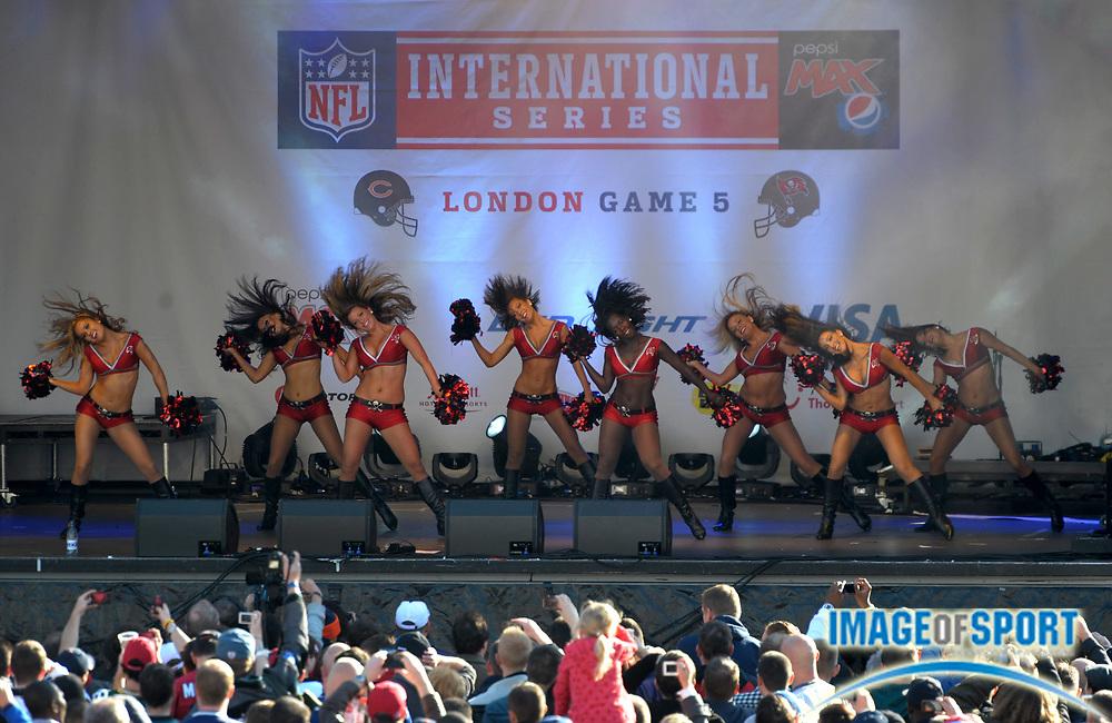 Oct 22, 2011; London, UNITED KINGDOM; Tampa Bay Buccaneers cheerleaders perform at the 2011 NFL International Series fan rally at Trafalgar Square.
