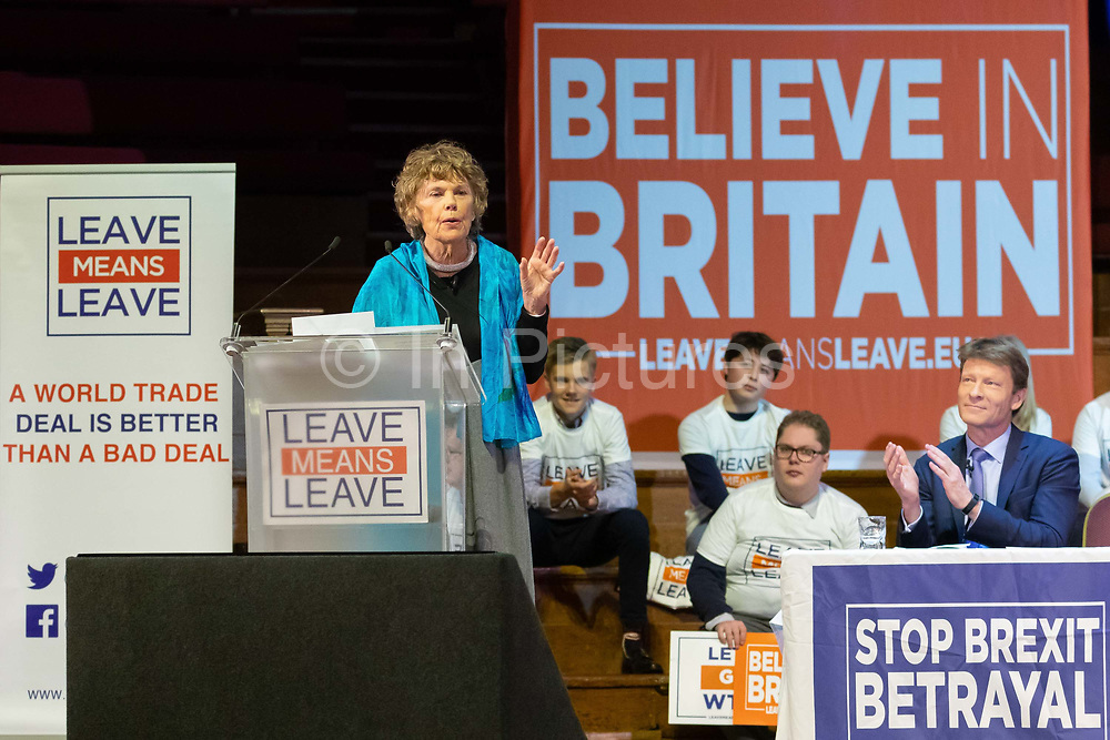 Kate Hoey MP speaking at a 'Brexit:Let's Go WTO Rally' organised by the Leave Means Leave campaign in Westminster, London, UK on January 17, 2019 where leading business and political Brexiteers discussed why WTO rules will allow Great Britain to thrive outside the European Union after Brexit.