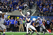Penn State Nittany Lions quarterback Sean Clifford (14) throws a pass under pressure from Memphis Tigers defensive end Bryce Huff (55) during the game of the NCAA Cotton Bowl Classic football game, Saturday, Dec. 28, 2019 at AT&T Stadium in Arlington, Texas. Penn State defeated Memphis 53-39. (Mario Terrana/Image of Sport)