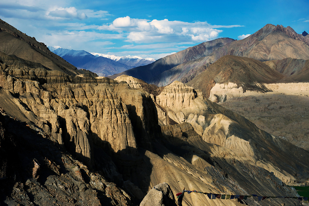 View over surrounding arid mountains from Lamayuru Monastery. Lamayuru Gompa (monastery) is built above the ruins of the old one.
